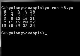 Practical example of ZigZag Matrix in Go (Golang